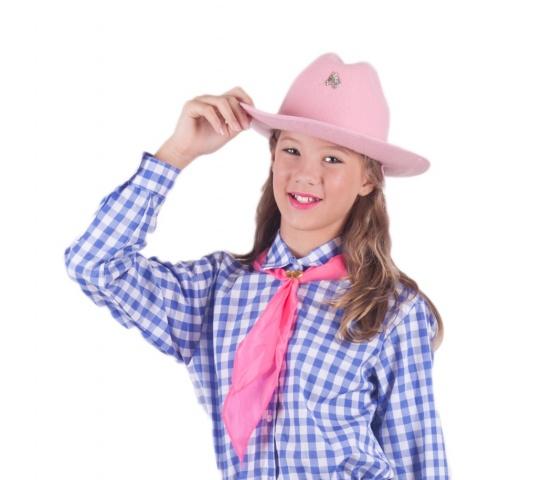 Chapéu Country Rosa e Leço feminino