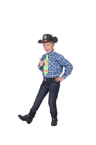 Camisa Xadrez Algodão, gravata, chapéu
